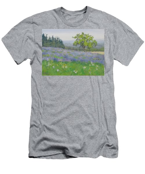 Men's T-Shirt (Slim Fit) featuring the painting Lavender Afternoon by Karen Ilari