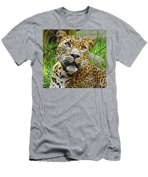 Men's T-Shirt (Slim Fit) featuring the photograph Leopard Face by Clare Bevan