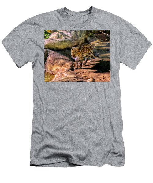 Men's T-Shirt (Slim Fit) featuring the painting Leopard by Michael Pickett