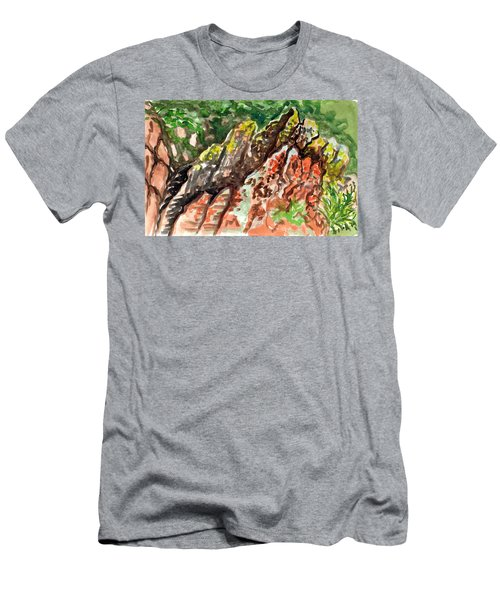 Men's T-Shirt (Athletic Fit) featuring the painting Lichen Rocks by Ashley Kujan