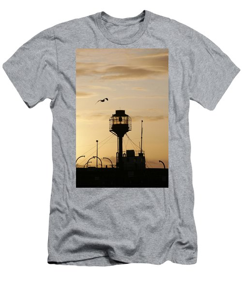 Light Ship Silhouette At Sunset Men's T-Shirt (Athletic Fit)