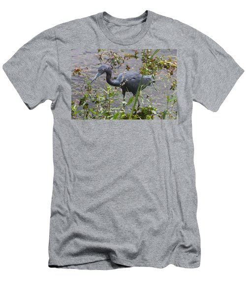 Men's T-Shirt (Slim Fit) featuring the photograph Little Blue Heron - Waiting For Prey by Christiane Schulze Art And Photography