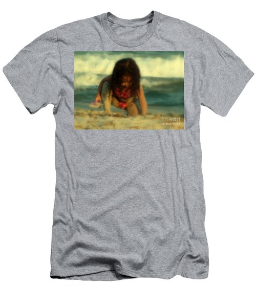 Men's T-Shirt (Slim Fit) featuring the photograph Little Girl At The Beach by Lydia Holly