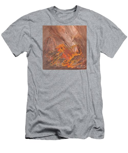 Men's T-Shirt (Slim Fit) featuring the painting Living Earth-kneeling Buddha by Susan  Dimitrakopoulos