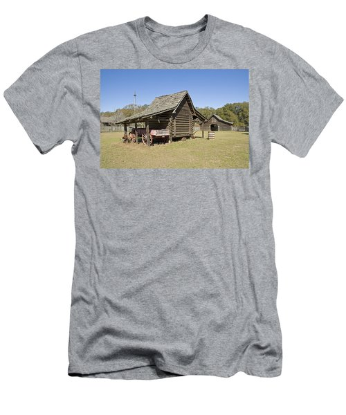 Men's T-Shirt (Slim Fit) featuring the photograph Log Cabin And Barn by Charles Beeler