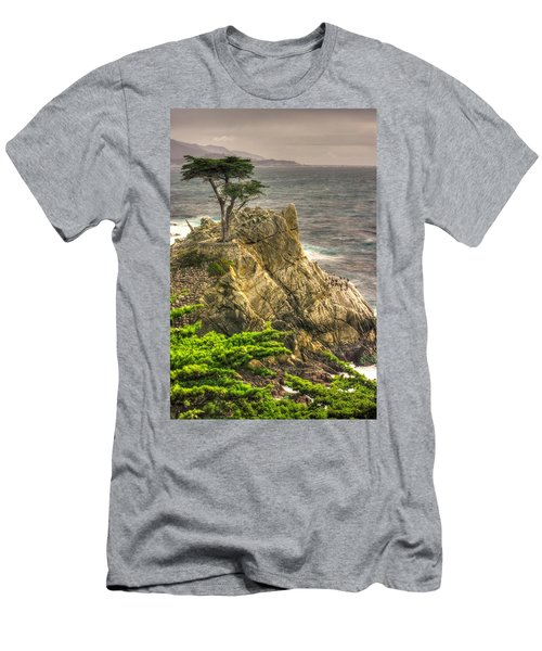Lone Cypress On The Monterey Peninsula - No. 1 Looking Across Carmel Bay Spring Mid-afternoon Men's T-Shirt (Slim Fit) by Michael Mazaika