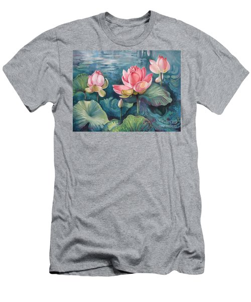 Men's T-Shirt (Slim Fit) featuring the painting Lotus Pond by Elena Oleniuc