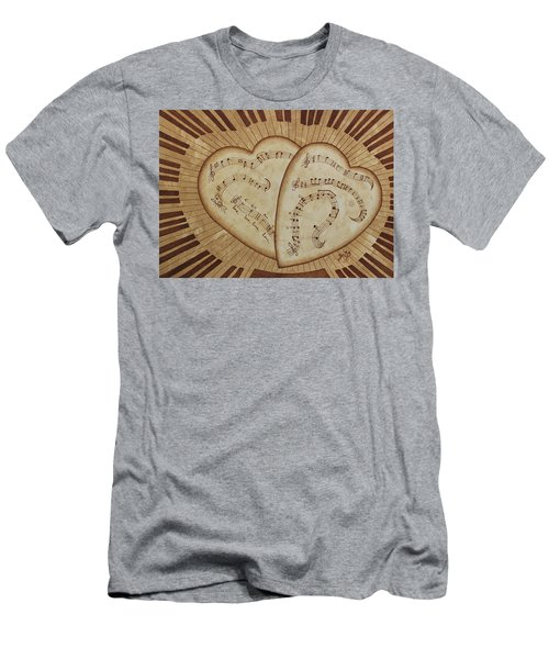 Men's T-Shirt (Athletic Fit) featuring the painting Love Song Of Our Hearts by Georgeta Blanaru