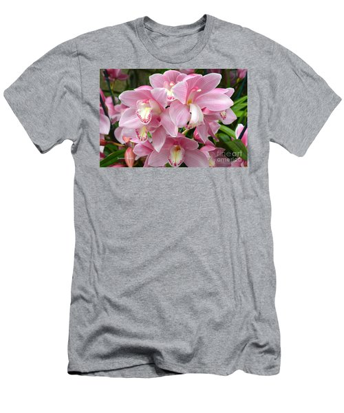 Men's T-Shirt (Slim Fit) featuring the photograph Cymbidium Pink Orchids by Jeannie Rhode
