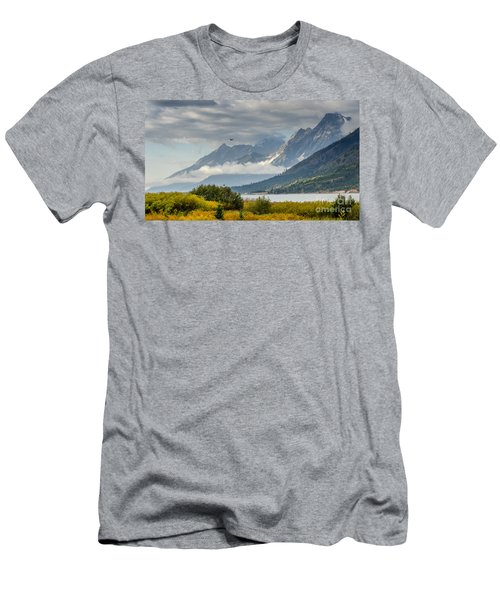 Low Clouds On The Teton Mountains Men's T-Shirt (Athletic Fit)