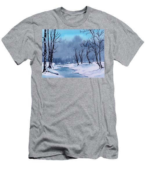 Maine Snowy Woods Men's T-Shirt (Athletic Fit)