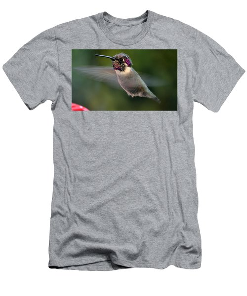 Men's T-Shirt (Slim Fit) featuring the photograph Male Anna's In Flight by Jay Milo