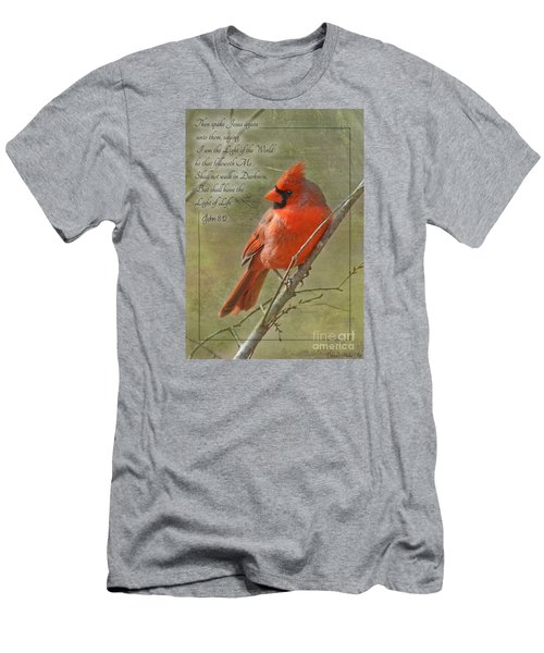 Male Cardinal On Twigs With Bible Verse Men's T-Shirt (Athletic Fit)