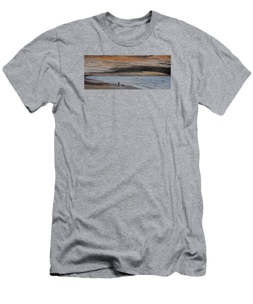 Men's T-Shirt (Slim Fit) featuring the painting Man And Dog On The Beach by Ian Donley