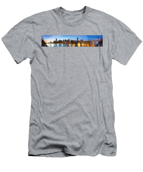 Manhattan Panorama And Queensboro Bridge Men's T-Shirt (Athletic Fit)