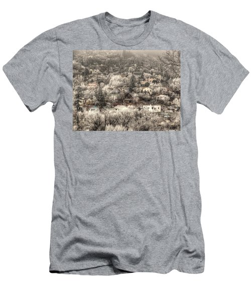 Men's T-Shirt (Slim Fit) featuring the photograph Manitou To The South In Snow Close Up by Lanita Williams