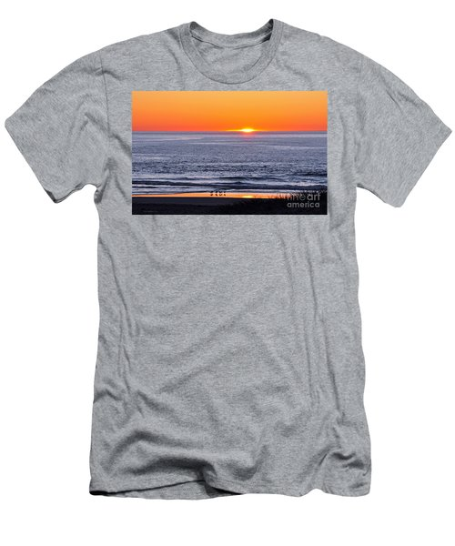 Men's T-Shirt (Slim Fit) featuring the photograph Marbled Godwits Reflecting A Sunset by Susan Wiedmann
