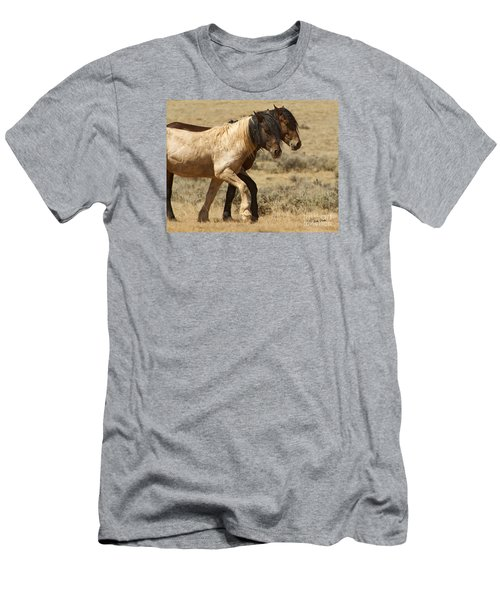 Men's T-Shirt (Slim Fit) featuring the photograph Mares In Step-signed-#9139 by J L Woody Wooden