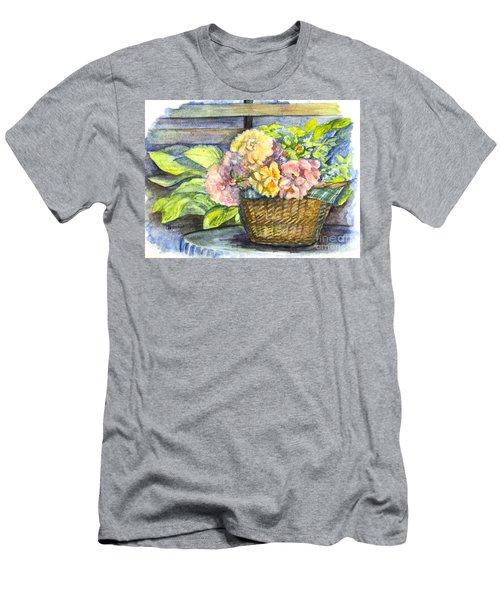 Marias Basket Of Peonies Men's T-Shirt (Slim Fit) by Carol Wisniewski