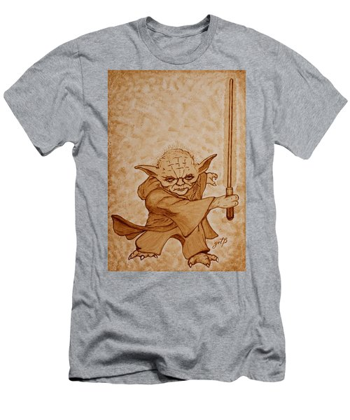 Men's T-Shirt (Athletic Fit) featuring the painting Master Yoda Jedi Fight Beer Painting by Georgeta  Blanaru