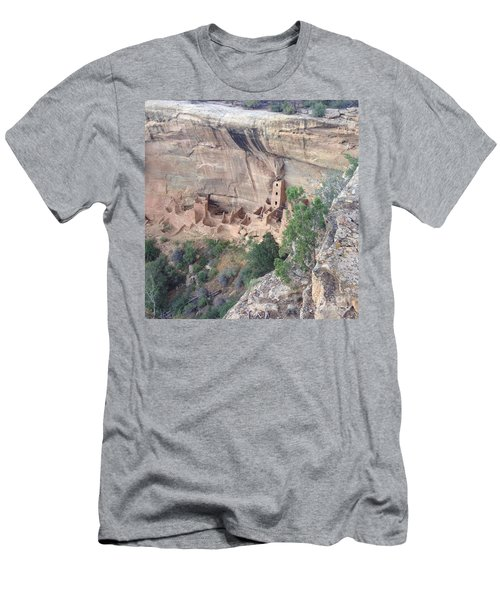 Men's T-Shirt (Slim Fit) featuring the photograph Mesa Verde Colorado Cliff Dwellings 1 by Richard W Linford
