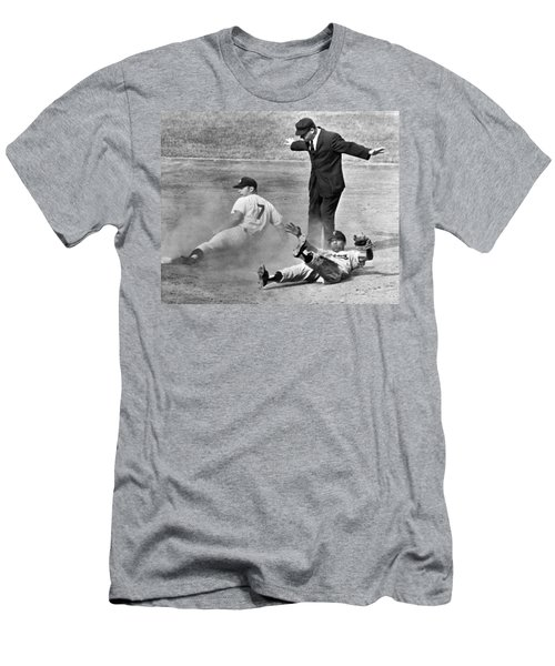 Mickey Mantle Steals Second Men's T-Shirt (Slim Fit) by Underwood Archives