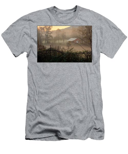 Misty Morn And Horse Men's T-Shirt (Slim Fit) by Kathy Barney
