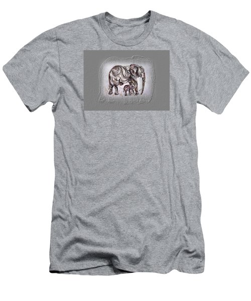 Mom Elephant Men's T-Shirt (Slim Fit)