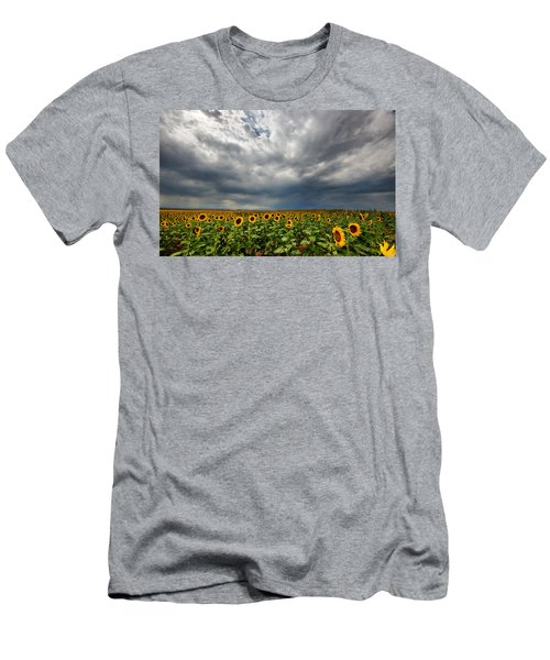 Moody Skies Over The Sunflower Fields Men's T-Shirt (Athletic Fit)