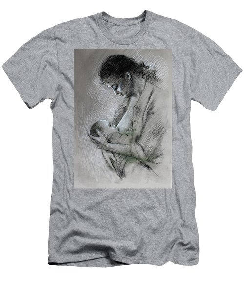 Men's T-Shirt (Slim Fit) featuring the drawing Mother And Baby by Viola El