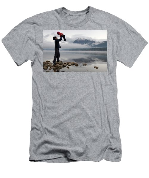 Mother In Hiking Clothes Holds Baby Men's T-Shirt (Athletic Fit)