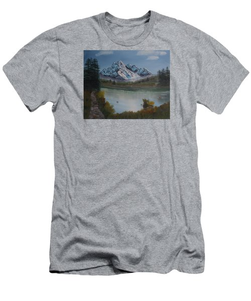Men's T-Shirt (Slim Fit) featuring the painting Mountain And River by Ian Donley