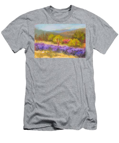 Men's T-Shirt (Athletic Fit) featuring the painting Mountainside Lavender   by Talya Johnson