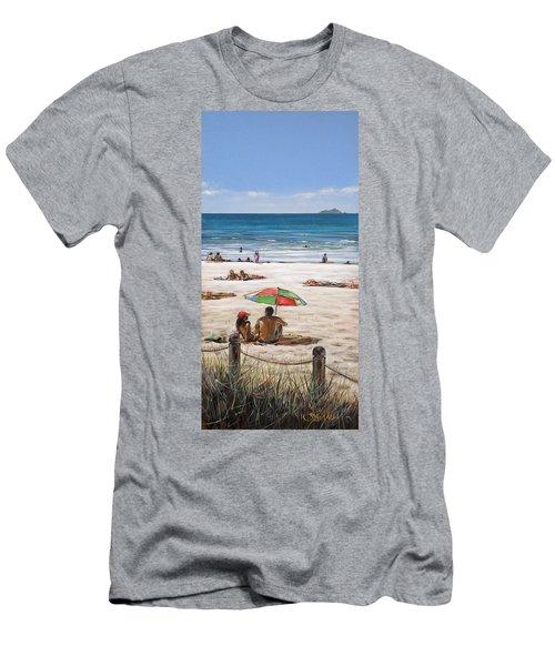 Mt Maunganui Beach 090209 Men's T-Shirt (Slim Fit) by Sylvia Kula