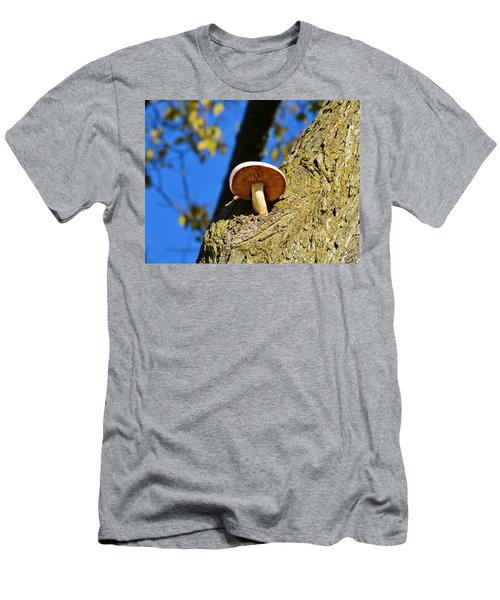 Men's T-Shirt (Slim Fit) featuring the photograph Mushroom In A Tree by Ally  White