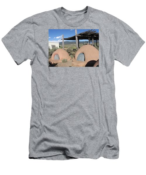 Men's T-Shirt (Slim Fit) featuring the photograph Native American Adobe Ovens In New Mexico by Dora Sofia Caputo Photographic Art and Design