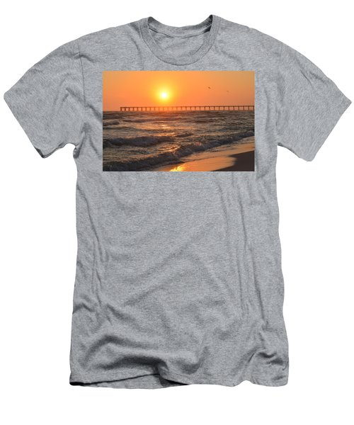 Navarre Beach And Pier Sunset Colors With Birds And Waves Men's T-Shirt (Athletic Fit)