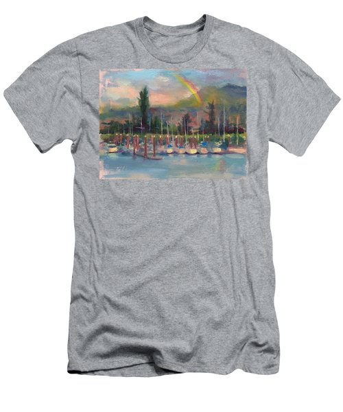 Men's T-Shirt (Athletic Fit) featuring the painting New Covenant - Rainbow Over Marina by Talya Johnson