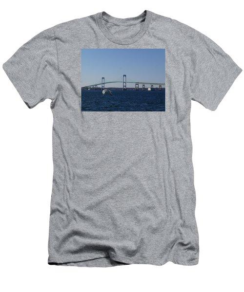 Newport Bridge Men's T-Shirt (Slim Fit) by Robert Nickologianis