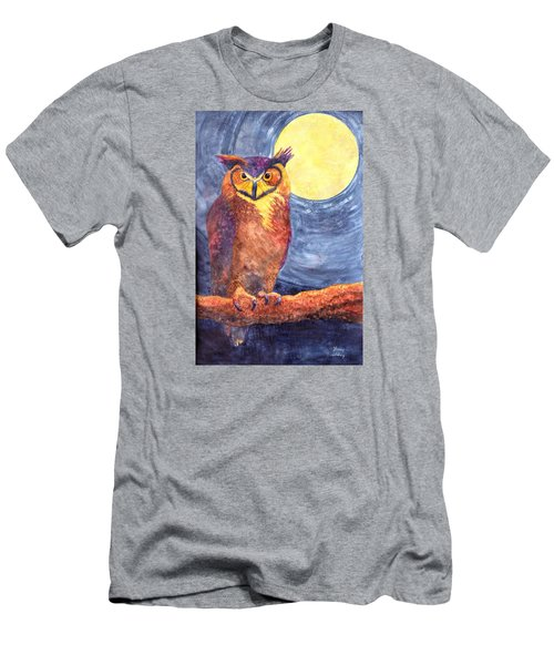 Men's T-Shirt (Slim Fit) featuring the painting Night Owl by Nancy Jolley