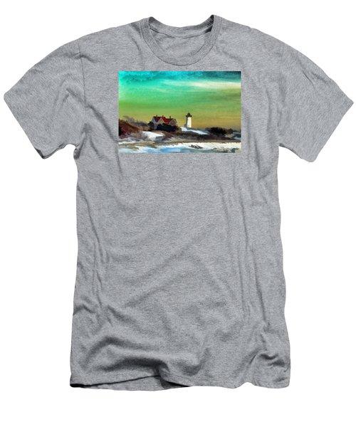 Nobska Lighhouse In Winter Men's T-Shirt (Athletic Fit)