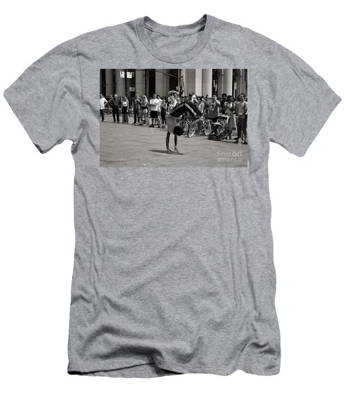 Men's T-Shirt (Slim Fit) featuring the photograph Nycity Street Performer by Angela DeFrias