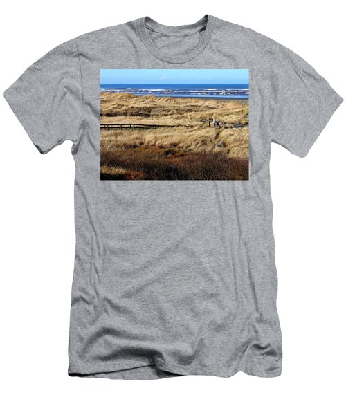 Men's T-Shirt (Slim Fit) featuring the photograph Ocean Shores Boardwalk by Jeanette C Landstrom