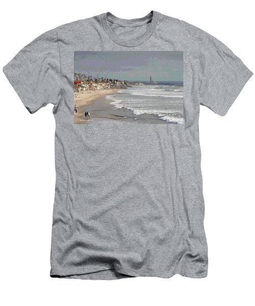 Men's T-Shirt (Slim Fit) featuring the photograph Oceanside South Of Pier by Tom Janca