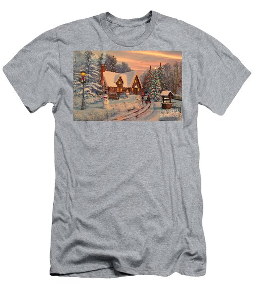 Old Christmas Cottage Men's T-Shirt (Athletic Fit)