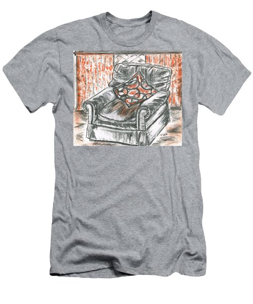 Men's T-Shirt (Slim Fit) featuring the drawing Old Cozy Chair by Teresa White