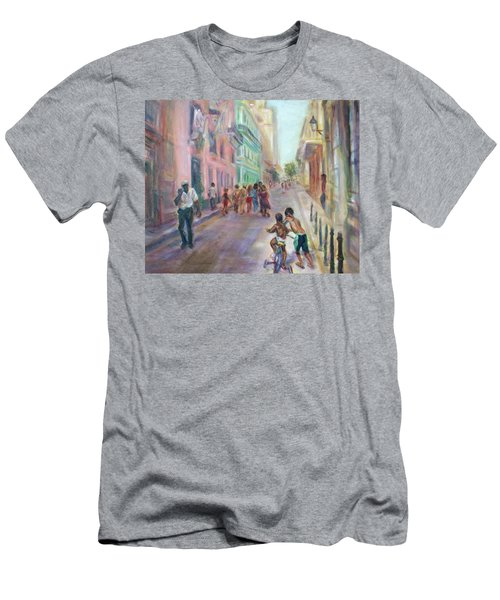Old Havana Street Life - Sale - Large Scenic Cityscape Painting Men's T-Shirt (Athletic Fit)