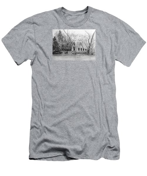 Old Library On Lake Afton - Winter Men's T-Shirt (Slim Fit) by Loretta Luglio