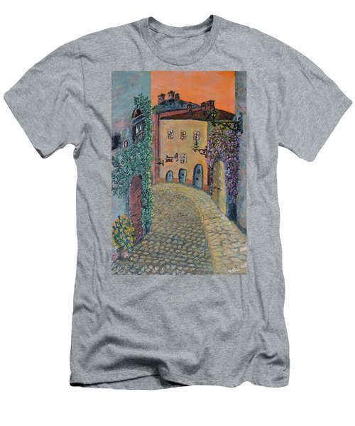 Men's T-Shirt (Slim Fit) featuring the painting Old Town In Piedmont by Felicia Tica