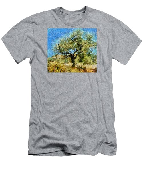 Olive Tree On Van Gogh Manner Men's T-Shirt (Athletic Fit)